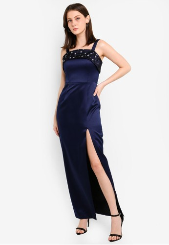 Megane navy Red Romance Gemma Beaded Long Dress F626DAAD93A3ABGS_1