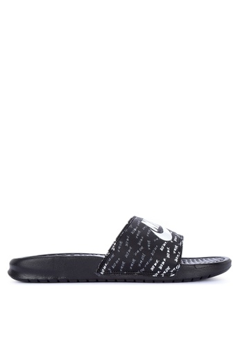 "Nike black and white Women's Nike Benassi ""Just Do It."" Sandals A7C2ESH35CC9DCGS_1"