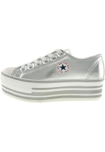Maxstar 銀色 新款韩国鞋C50-6H-TC時尚合成物質布混合女銀色 US Women Size MA345SH74GUFTW_1