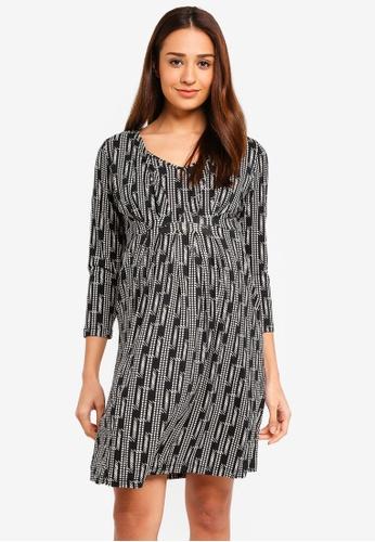 JoJo Maman Bébé black Maternity Line Geo Pleat Tunic Dress E7334AA77F817AGS_1