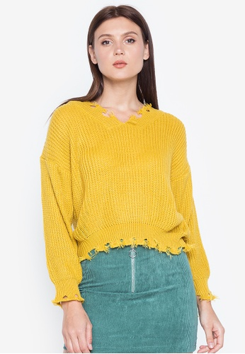 Chase Fashion yellow Distressed Knitted Vneck Cropped Sweater F0C8FAA98EE197GS_1