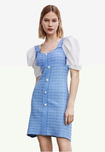 Urban Revivo 藍色 格紋公主袖洋裝 D9E3BAA0E09731GS_1