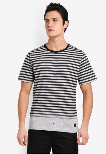 Flesh IMP grey Tran Printed Stripe T-Shirt ADD57AA0633559GS_1