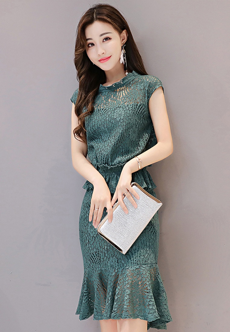 Dress Green A072430GR Piece Mini Sunnydaysweety Green Sleeves One Lace Short 2017 nHvf80qx