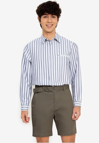 ZALORA BASICS multi Stripe Zip Pocket Shirt 0BC93AABFA8EBEGS_1