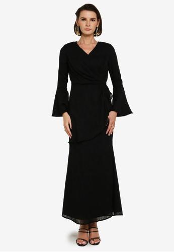Zalia 黑色 Drape Textured Dress 44809AAE3BAD46GS_1