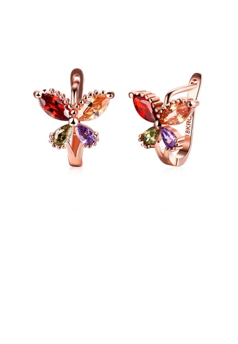 Glamorousky multi Elegant Plated Rose Gold Butterfly Earrings with Colored Cubic Zirconia 0FDE4ACAE368D1GS_1