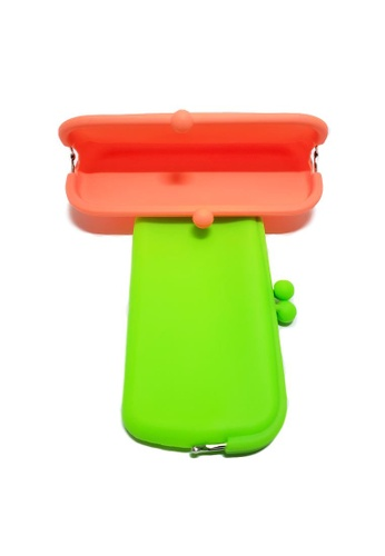 Kings Collection orange and green Silicone Clutch Wallet x 2 00AAFAC27BD818GS_1