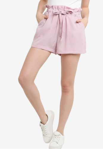 ZALORA purple Paperbag Self Tie Shorts 6DF52AA4FDD304GS_1