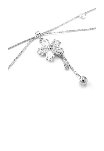 Glamorousky silver Elegant Flower Anklet with Silver Austrian Element Crystals 4B5FFAC85F42D4GS_1