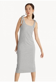 47320d7b246 Midi Tie Shoulder Back Slit Dress - Mid Grey FA731AA920E576GS 1