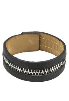 Men's Zipper Leather Wristband