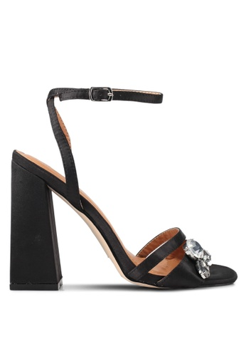 Public Desire black Harrow Gem Detail Block Heels PU378SH0SIPMMY_1