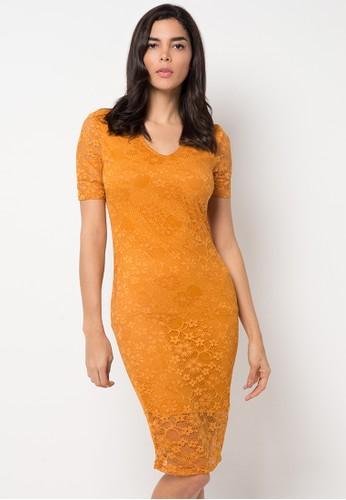Raspberry yellow Eden Lace Midi Dress RA572AA76YQLID_1