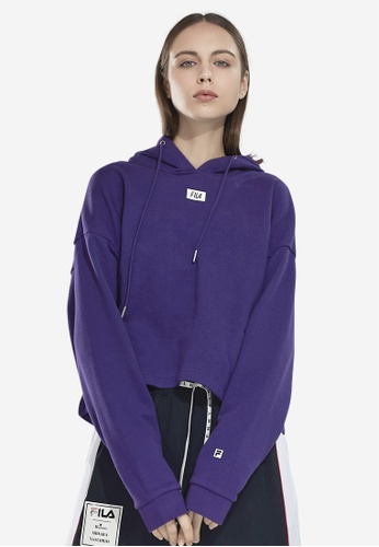 FILA purple Korea Collection FILA Logo Cropped Cotton Hoodies 78629AAF9981FBGS_1