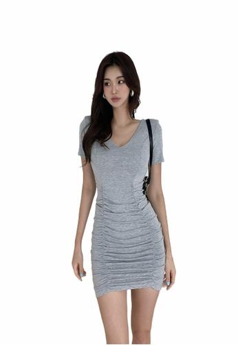 Crystal Korea Fashion grey Korean-made V-neck short-sleeved slim stretch GREY dress BB097AA4371F42GS_1