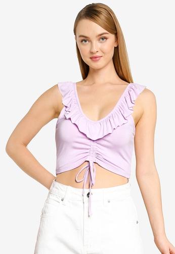 Supre purple Esther V Neck Frill Edge Top E746FAA0B1DAAFGS_1