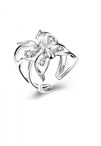 Glamorousky silver Elegant Butterfly Cubic Zircon Adjustable Split Ring 541CBAC366E7C2GS_1