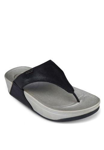 金屬感夾腳厚底涼鞋esprit outlet hong kong, 女鞋, 鞋