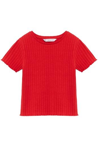 MANGO KIDS red Ribbed Cotton T-Shirt B8BE6KA7ED79A2GS_1