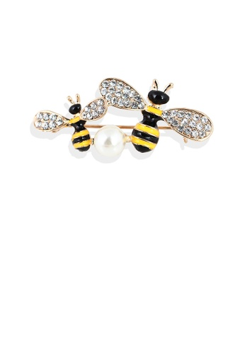 Glamorousky white Fashion and Simple Plated Gold Double Bee Imitation Pearl Brooch with Cubic Zirconia F7AA1AC94E0FB3GS_1