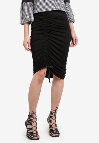 Something Borrowed black Asymmetric Drawstring Skirt 4089EZZ3723A28GS_1