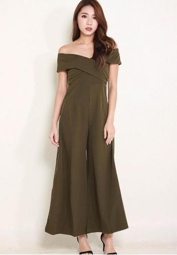 Leline Style green Hilia OffShoulder Romper LE802AA0FUDGSG_1