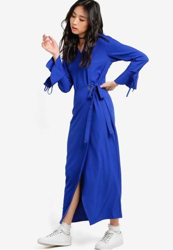 裹式繫帶細節連身長裙, 服飾, esprit台灣官網洋裝