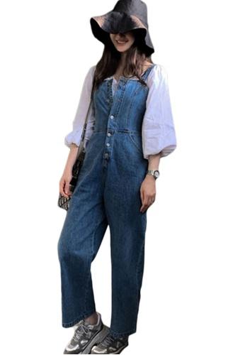 Sunnydaysweety blue Spring and Summer Denim Wide-Leg Jumpsuit A21031924 5AD46AAD95C038GS_1