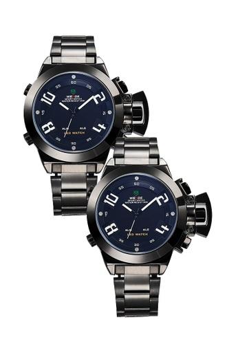 Weide black Bundle 2 units Weide WH1008 Dual Time LED Sport Digital Analog Watch Full Black WE079AC0RQMIMY_1