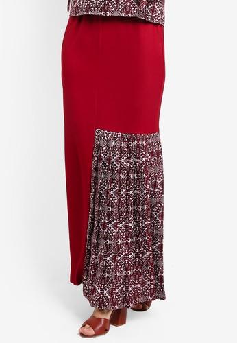 Tsyahmi for ZALORA red Kumbu Side Pleat Pencil Skirt TS528AA24ZBFMY_1