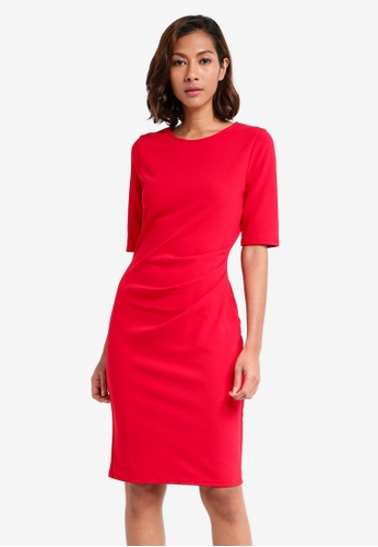 Dorothy Perkins red 1/2 Sleeve Ruched Bodycon Dress 4C51AAAB8A36A9GS_1