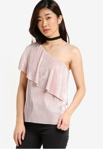 WAREHOUSE pink Foil Plisse One Shoulder Top WA653AA09NXIMY_1