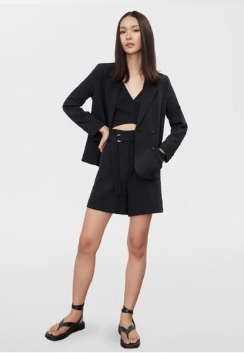 Pomelo black Oversize Double Breasted Blazer - Black D5D50AA5209E4DGS_1