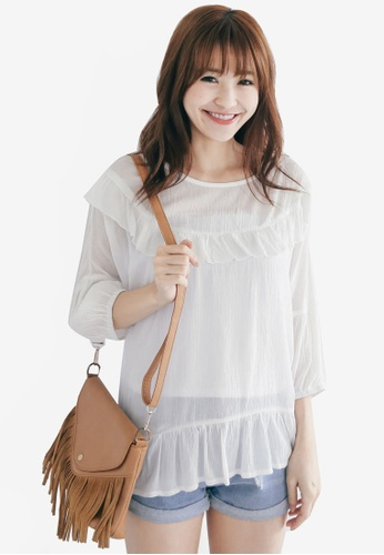 Tokichoi white Ruffle Top TO550AA31WXCMY_1