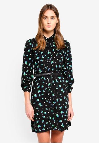 ESPRIT black Printed Frill Shirt Dress 86DB5AA5B8B209GS_1