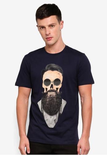 Jack & Jones 海軍藍色 短袖印花T恤 78F17AA8D71C4DGS_1