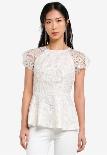 ZALORA white Gold Crochet Lace Peplum Top D66EEAAB1E9896GS_1