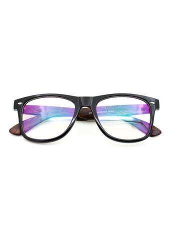 Elitrend black and brown Classic Plastic Frame Glasses - Wood Grain B5490GL23553E7GS_1