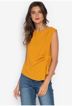 e76e15fcb12ee8 F.101 yellow Sleeveless Polka-Dot Blouse AC698AA11B0F0DGS 1