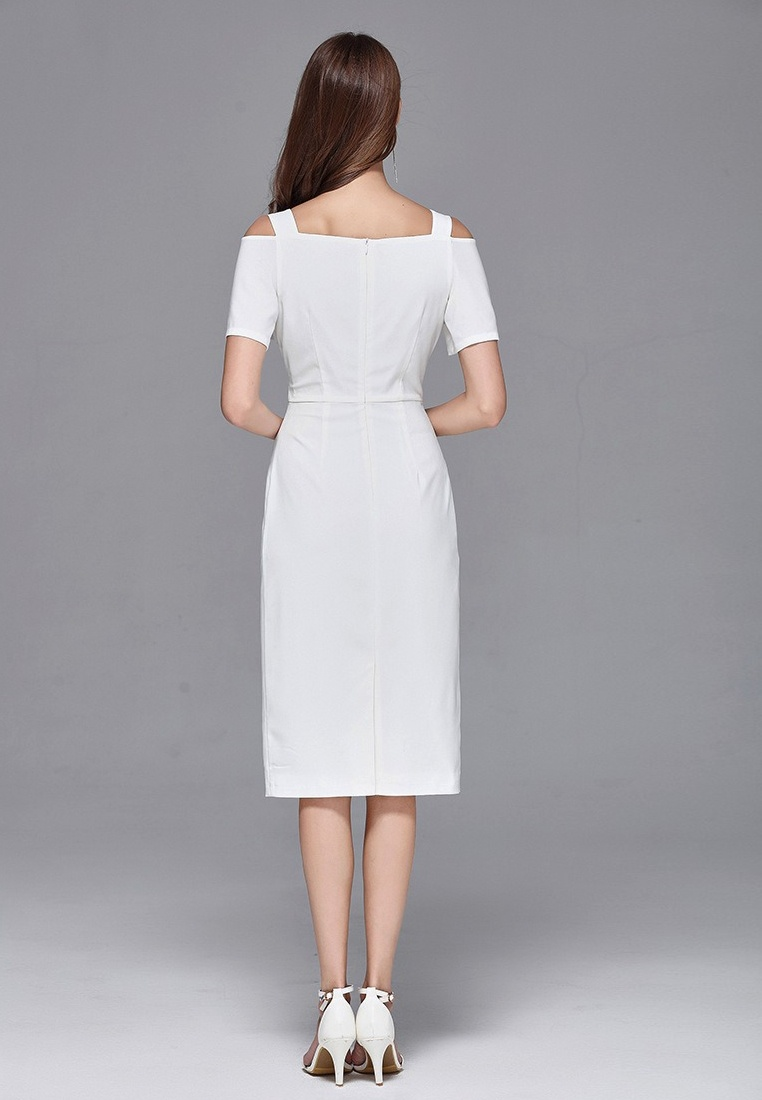 Off Shoulder Piece Dress CA062926W One White Sunnydaysweety White 2018 New PxA7F
