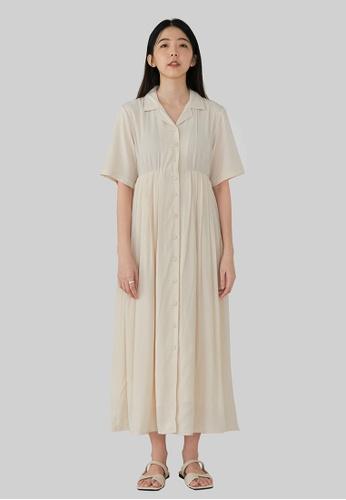 We Enjoy Simplicity beige Iva Collar Pleated Long Dress (Cream) 4F5D9AA0E4C21DGS_1