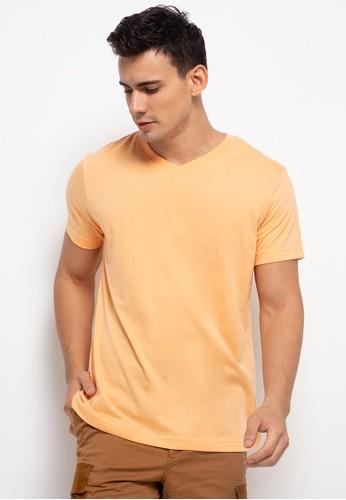 Tolliver orange V Neck Basic Short Sleeve Tee 554C8AA423F60AGS_1