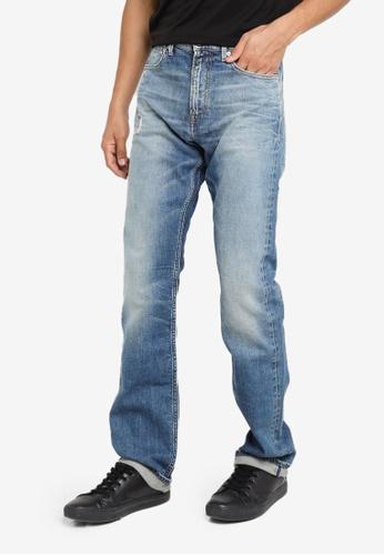 CALVIN KLEIN blue Distressed Straight Jeans CAE93AA0C6B362GS_1
