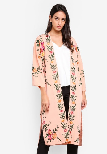 TOPSHOP pink Pink Floral Embroidered Longline Kimono C34FEAAFB6FB74GS_1