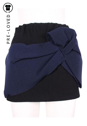 Miu Miu black Pre-Loved miu miu Wool-Felt Mini Skirt With Maxi Flower F8D44AA33ACCFCGS_1