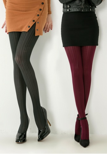 521abab194db0 RISING STAR grey 100D Burgundy Red Wheat Pattern Pantyhose / 100D Dark Grey  Wheat Pattern Pantyhose