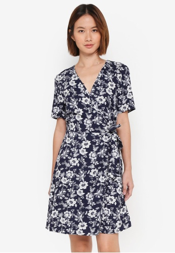 WAREHOUSE blue Willow Print Wrap Dress ADB0FAAE062228GS_1