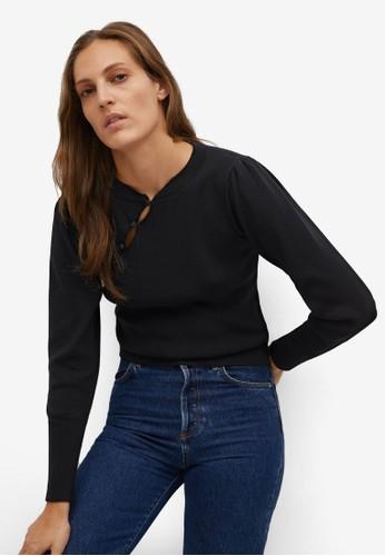 Mango black Side Slit Sweater D9146AA7CA8020GS_1