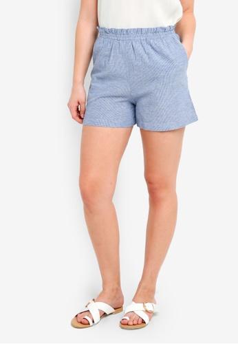 ICHI blue Boha Shorts E015CAA5B6517AGS_1